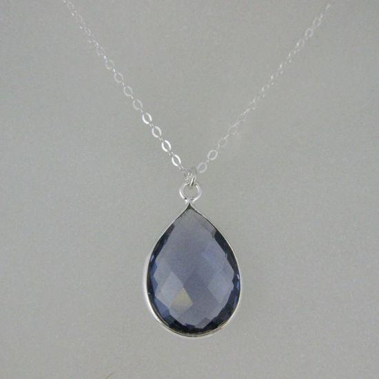 """Wholesale Bezel Gemstone Tear Pendant Necklace - Silver Sterling Chain - Iolite Quartz (16-24"""")"""