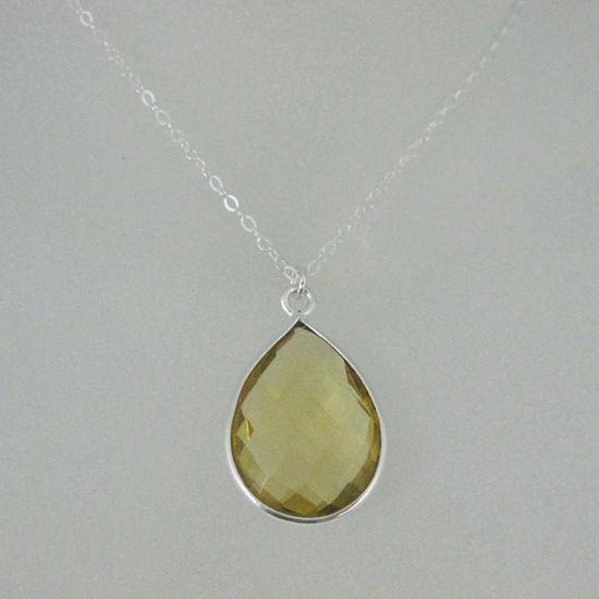 """Wholesale Bezel Gemstone Tear Pendant Necklace - Silver Sterling Chain - Lemon Quartz (16-24"""")"""