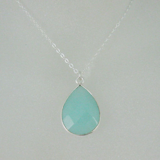 "Wholesale Bezel Gemstone Tear Pendant Necklace - Silver Sterling Chain - Peru Chalcedony (16-24"")"