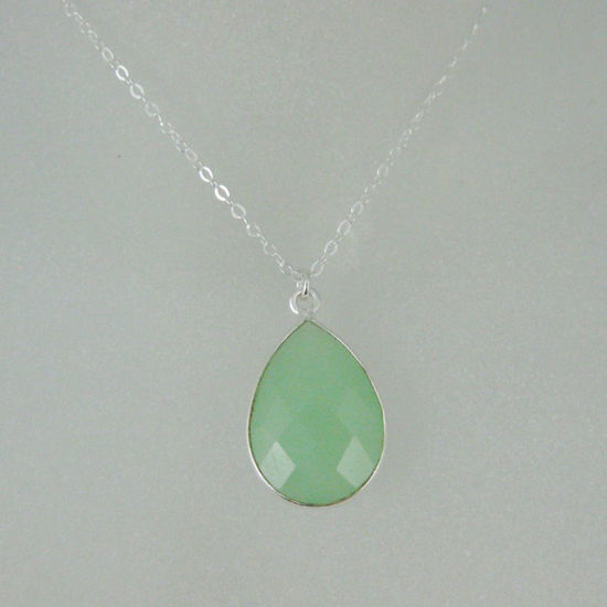 "Wholesale Bezel Gemstone Tear Pendant Necklace - Silver Sterling Chain - Prenite Chalcedony (16-24"")"