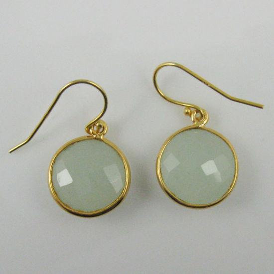 Wholesale Bezel Gemstone Round Pendant Earrings - Gold Plated Hooks - Aqua Chalcedony