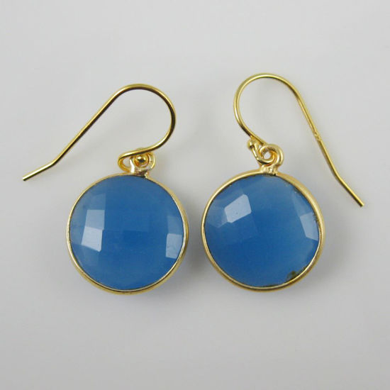 Wholesale Bezel Gemstone Round Pendant Earrings - Gold Plated Hooks - Blue Chalcedony
