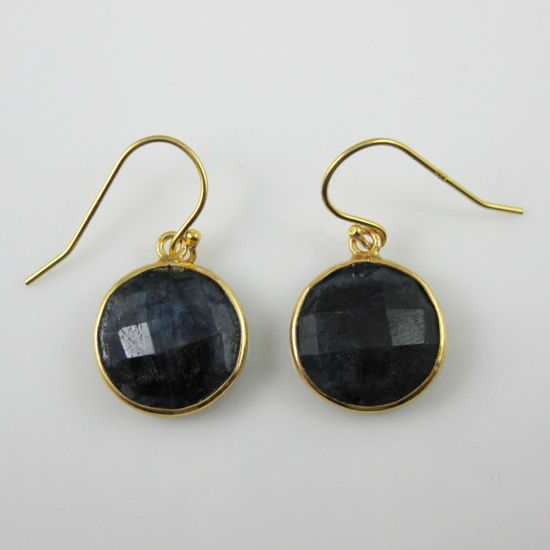 Wholesale Bezel Gemstone Round Pendant Earrings - Gold Plated Hooks - Blue Sapphire Dyed