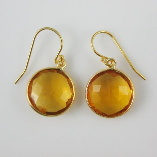Wholesale Bezel Gemstone Round Pendant Earrings - Gold Plated Hooks -Citrine Quartz