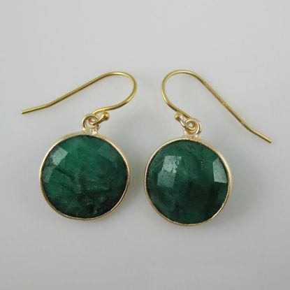 Wholesale Bezel Gemstone Round Pendant Earrings - Gold Plated Hooks - Emerald Dyed