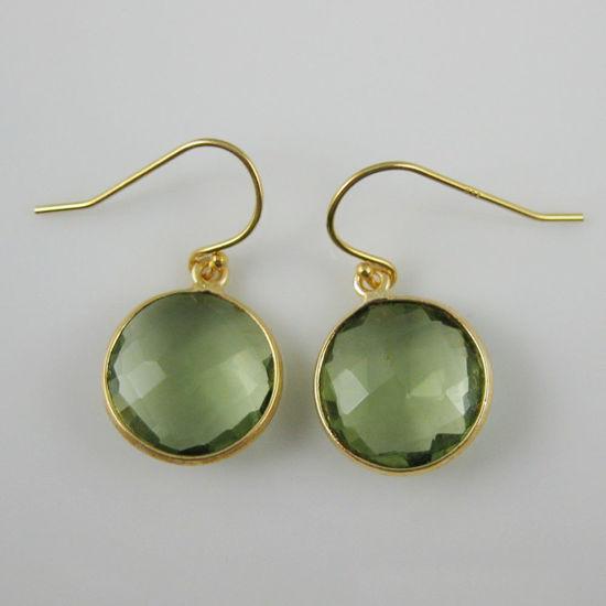Wholesale Bezel Gemstone Round Pendant Earrings - Gold Plated Hooks - Green Amethyst Quartz