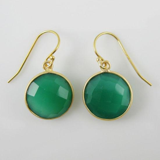 Wholesale Bezel Gemstone Round Pendant Earrings - Gold Plated Hooks - Green Onyx
