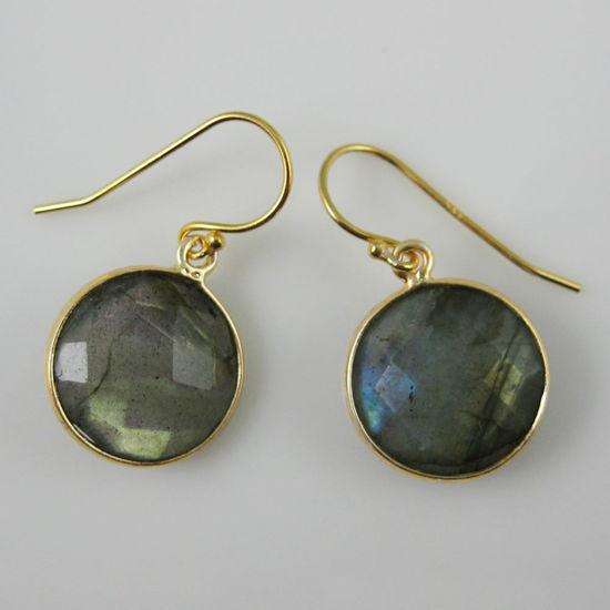 Wholesale Bezel Gemstone Round Pendant Earrings - Gold Plated Hooks - Labradorite