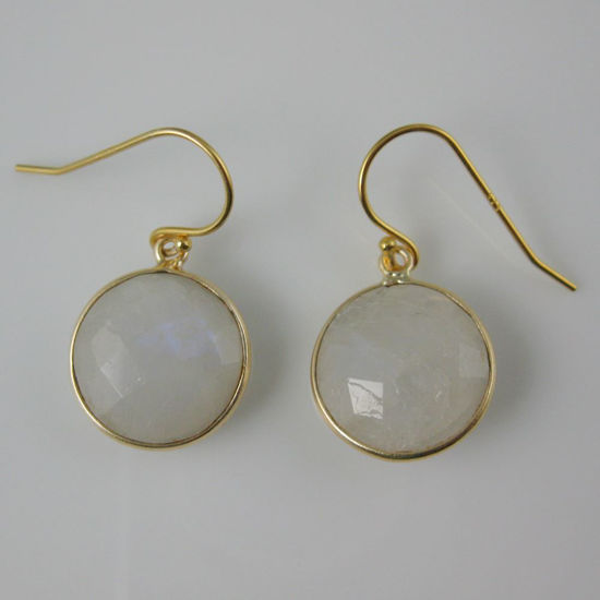 Wholesale Bezel Gemstone Round Pendant Earrings - Gold Plated Hooks - Moonstone