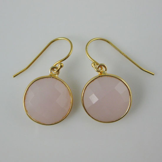 Wholesale Bezel Gemstone Round Pendant Earrings - Gold Plated Hooks - Pink Chalcedony