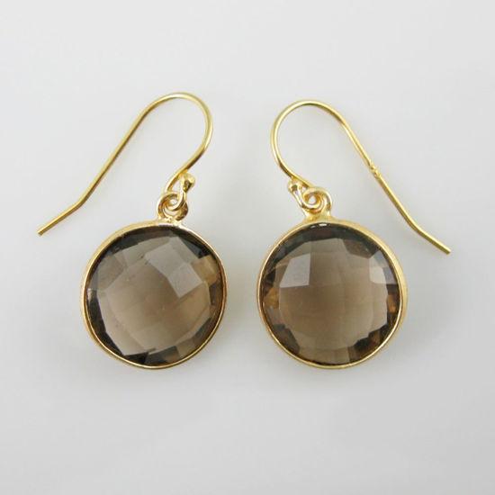 Wholesale Bezel Gemstone Round Pendant Earrings - Gold Plated Hooks - Smoky Quartz