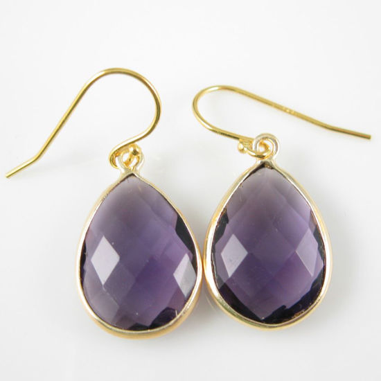 Wholesale Bezel Gemstone Tear Pendant Earrings - Gold Plated Hooks -Amethyst