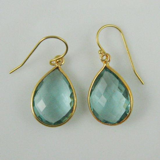 Wholesale Bezel Gemstone Tear Pendant Earrings - Gold Plated Hooks - Aqua Quartz