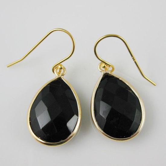 Wholesale Bezel Gemstone Tear Pendant Earrings - Gold Plated Hooks - Black Onyx