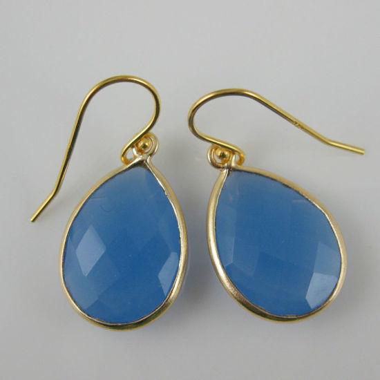 Wholesale Bezel Gemstone Pendant Earrings - Gold Plated Hooks - Blue Chalcedony