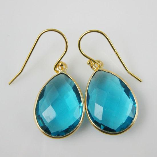 Wholesale Bezel Gemstone Tear Pendant Earrings - Gold Plated Hooks - Blue Quartz