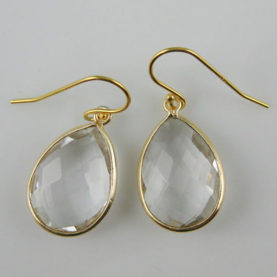 Wholesale Bezel Gemstone Tear Pendant Earrings - Gold Plated Hooks - Crystal Quartz