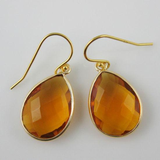 Wholesale Bezel Gemstone Tear Pendant Earrings - Gold Plated Hooks - Citrine Quartz