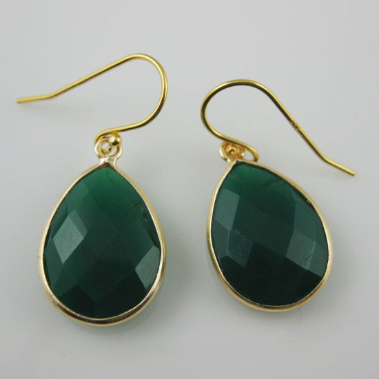 Wholesale Bezel Gemstone Tear Pendant Earrings - Gold Plated Hooks - Green Onyx