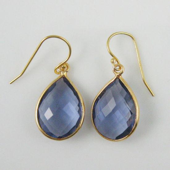 Wholesale Bezel Gemstone Tear Pendant Earrings - Gold Plated Hooks - Iolite Quartz