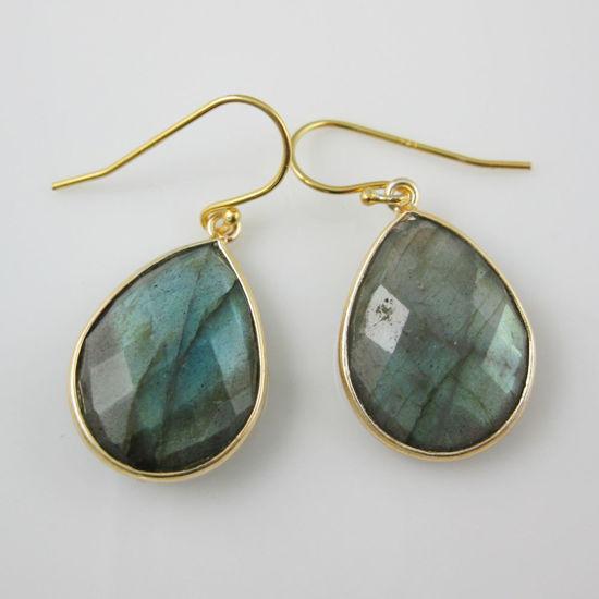 Wholesale Bezel Gemstone Tear Pendant Earrings - Gold Plated Hooks - Labradorite
