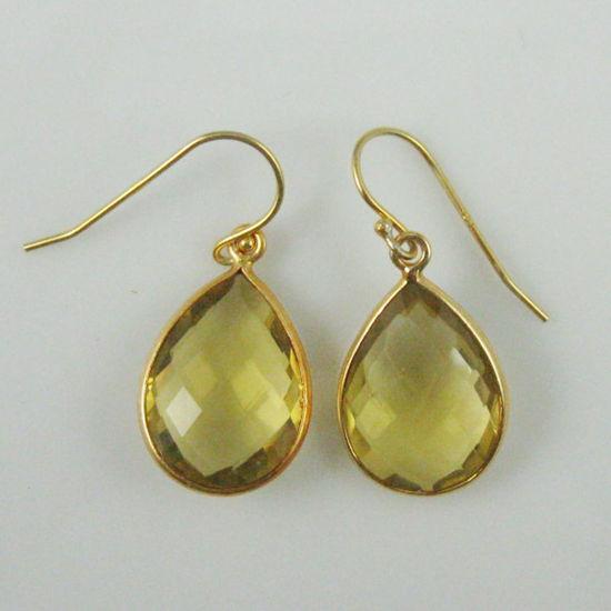 Wholesale Bezel Gemstone Tear Pendant Earrings - Gold Plated Hooks - Lemon Quartz