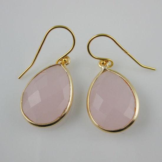 Wholesale Bezel Gemstone Tear Pendant Earrings - Gold Plated Hooks - Pink Chalcedony