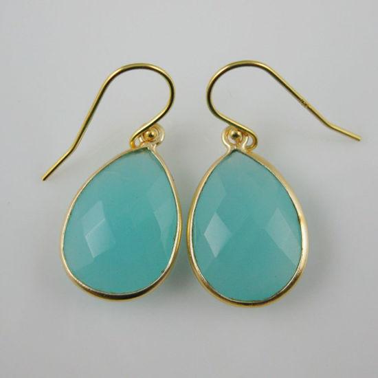 Wholesale Bezel Gemstone Tear Pendant Earrings - Gold Plated Hooks - Peru Chalcedony