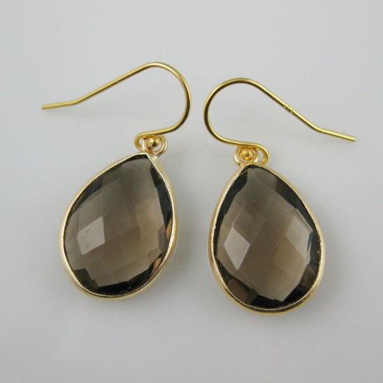 Wholesale Bezel Gemstone Tear Pendant Earrings - Gold Plated Hooks - Smoky Quartz