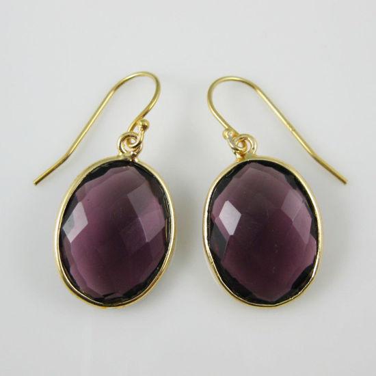 Wholesale Bezel Gemstone Oval Pendant Earrings - Gold Plated Hooks - Amethyst