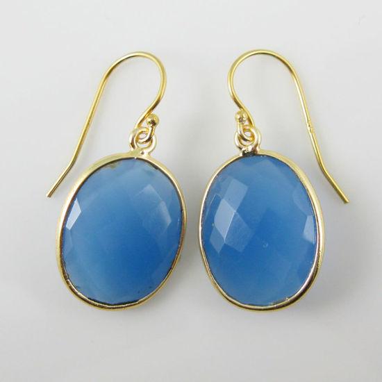 Wholesale Bezel Gemstone Oval Pendant Earrings - Gold Plated Hooks - Blue Chalcedony