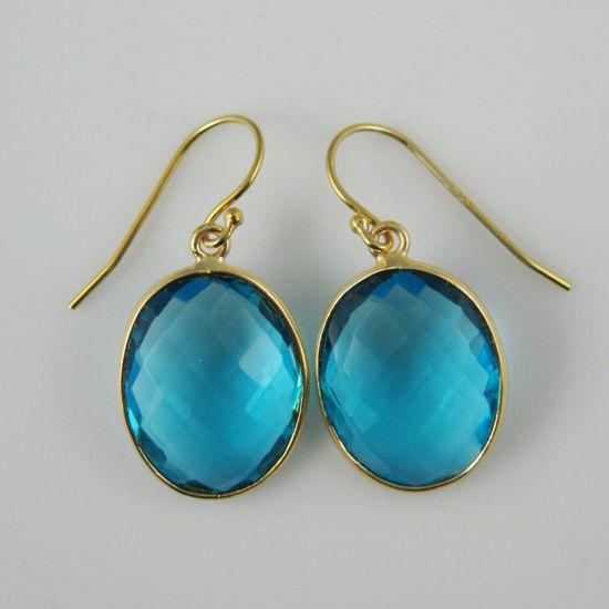 Wholesale Bezel Gemstone Oval Pendant Earrings - Gold Plated Hooks - Blue Quartz