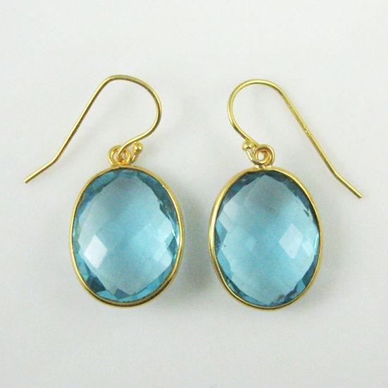 Wholesale Bezel Gemstone Oval Pendant Earrings - Gold Plated Hooks - Blue Topaz