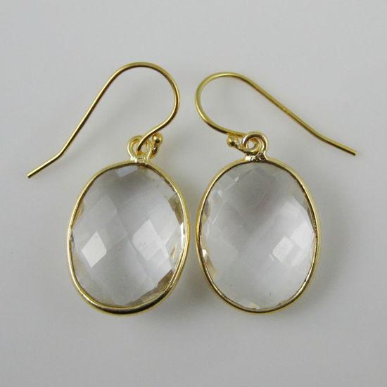 Wholesale Bezel Gemstone Oval Pendant Earrings - Gold Plated Hooks - Crystal Quartz
