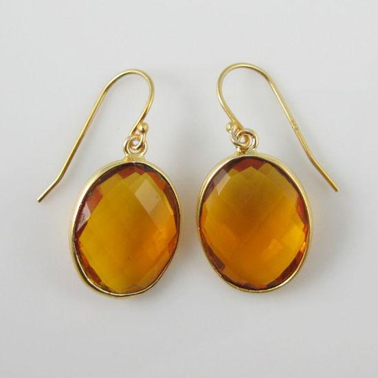 Wholesale Bezel Gemstone Oval Pendant Earrings - Gold Plated Hooks - Citrine Quartz