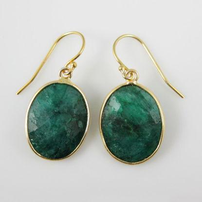 Wholesale Bezel Gemstone Oval Pendant Earrings - Gold Plated Hooks -Emerald Dyed