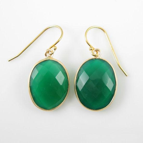 Wholesale Bezel Gemstone Oval Pendant Earrings - Gold Plated Hooks - Green Onyx