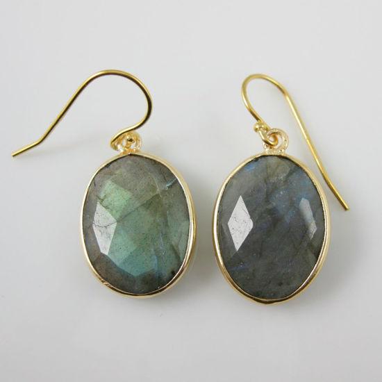 Wholesale Bezel Gemstone Oval Pendant Earrings - Gold Plated Hooks - Labradorite