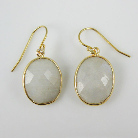 Wholesale Bezel Gemstone Oval Pendant Earrings - Gold Plated Hooks - Moonstone