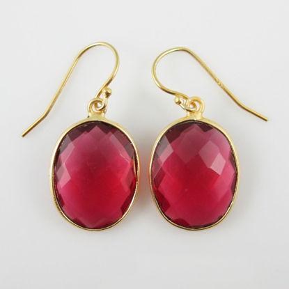 Wholesale Bezel Gemstone Oval Pendant Earrings - Gold Plated Hooks - Rubylite Quartz