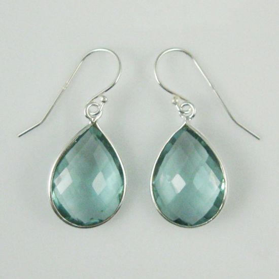Wholesale Bezel Gemstone Tear Shaped Pendant Earrings - Sterling Silver Hooks - Aqua Quartz