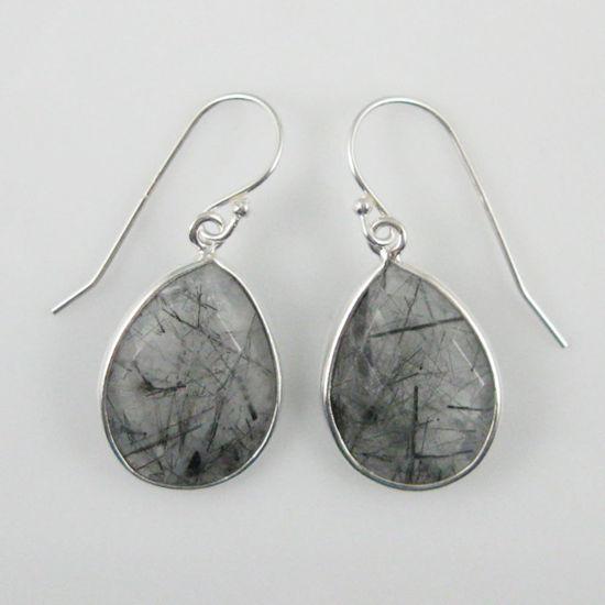Wholesale Bezel Gemstone Tear Shaped Pendant Earrings - Sterling Silver Hooks - Black Rutilated Quartz