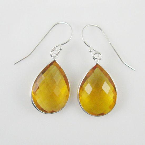 Wholesale Bezel Gemstone Tear Shaped Pendant Earrings - Sterling Silver Hooks - Citrine Quartz