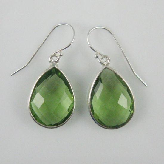 Wholesale Bezel Gemstone Tear Shaped Pendant Earrings - Sterling Silver Hooks - Green Amethyst Quartz