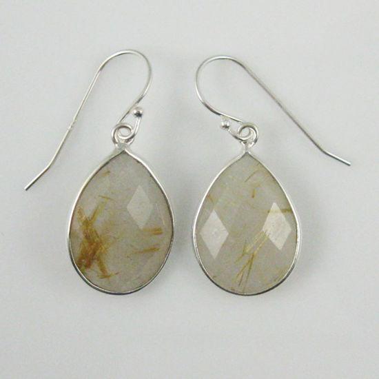 Wholesale Bezel Gemstone Tear Shaped Pendant Earrings - Sterling Silver Hooks - Gold Rutilated Quartz