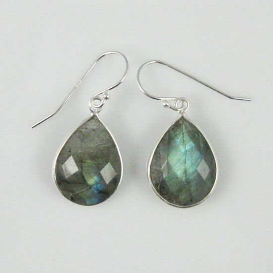 Wholesale Bezel Gemstone Tear Shaped Pendant Earrings - Sterling Silver Hooks - Labradorite