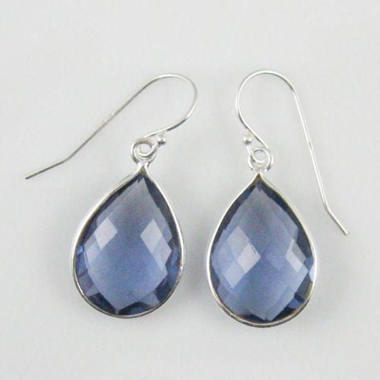 Wholesale Bezel Gemstone Tear Shaped Pendant Earrings - Sterling Silver Hooks - Iolite Quartz