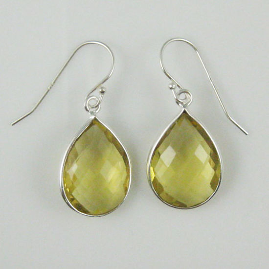Wholesale Bezel Gemstone Tear Shaped Pendant Earrings - Sterling Silver Hooks - Lemon Quartz