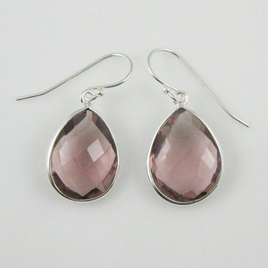 Wholesale Bezel Gemstone Tear Shaped Pendant Earrings - Sterling Silver Hooks - Pink Amethyst Quartz