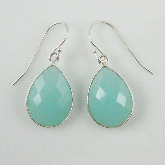 Wholesale Bezel Gemstone Tear Shaped Pendant Earrings - Sterling Silver Hooks - Peru Chalcedony